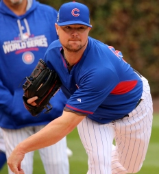Cubs lefty Jon Lester throws a bullpen session at Wrigley Field.